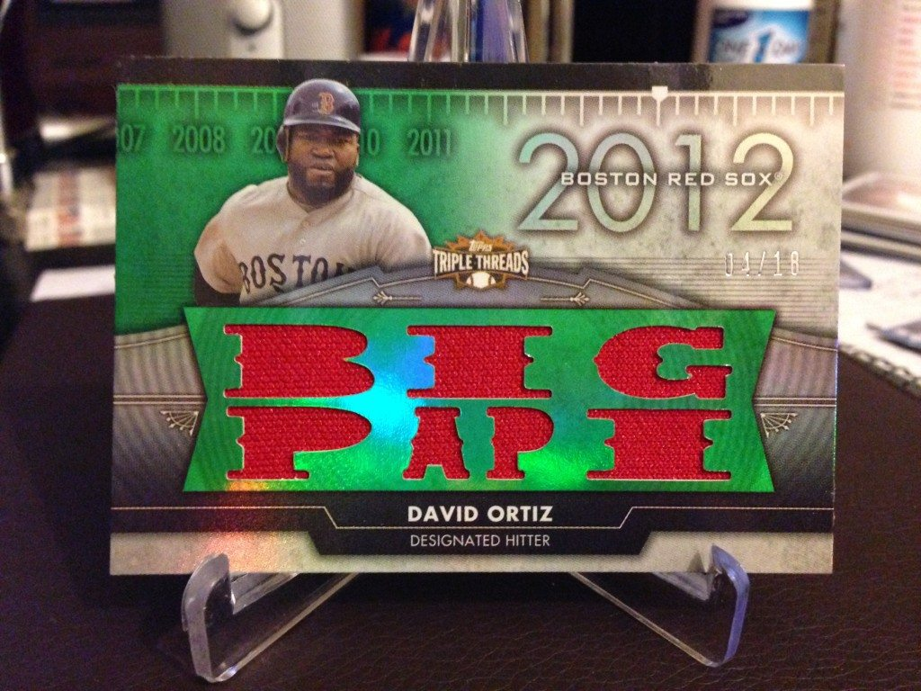 2012 Topps Triple Threads David Ortiz Double-Sided Jersey Relic #04/18 (Side 1)