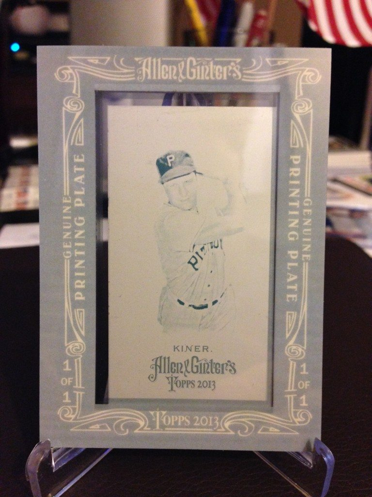 2013 Topps Allen & Ginter Ralph Kiner Mini Cyan Printing Plate 1/1 (side 1)
