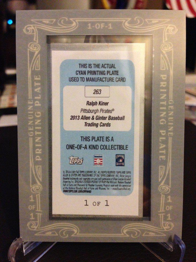 2013 Topps Allen & Ginter Ralph Kiner Mini Cyan Printing Plate 1/1 (side 2)