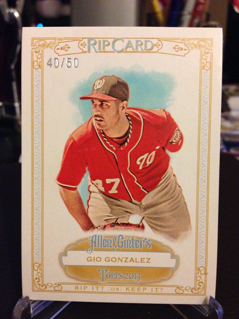 2013 Topps Allen & Ginter Gio Gonzalez Rip Card (Ripped) #40/50