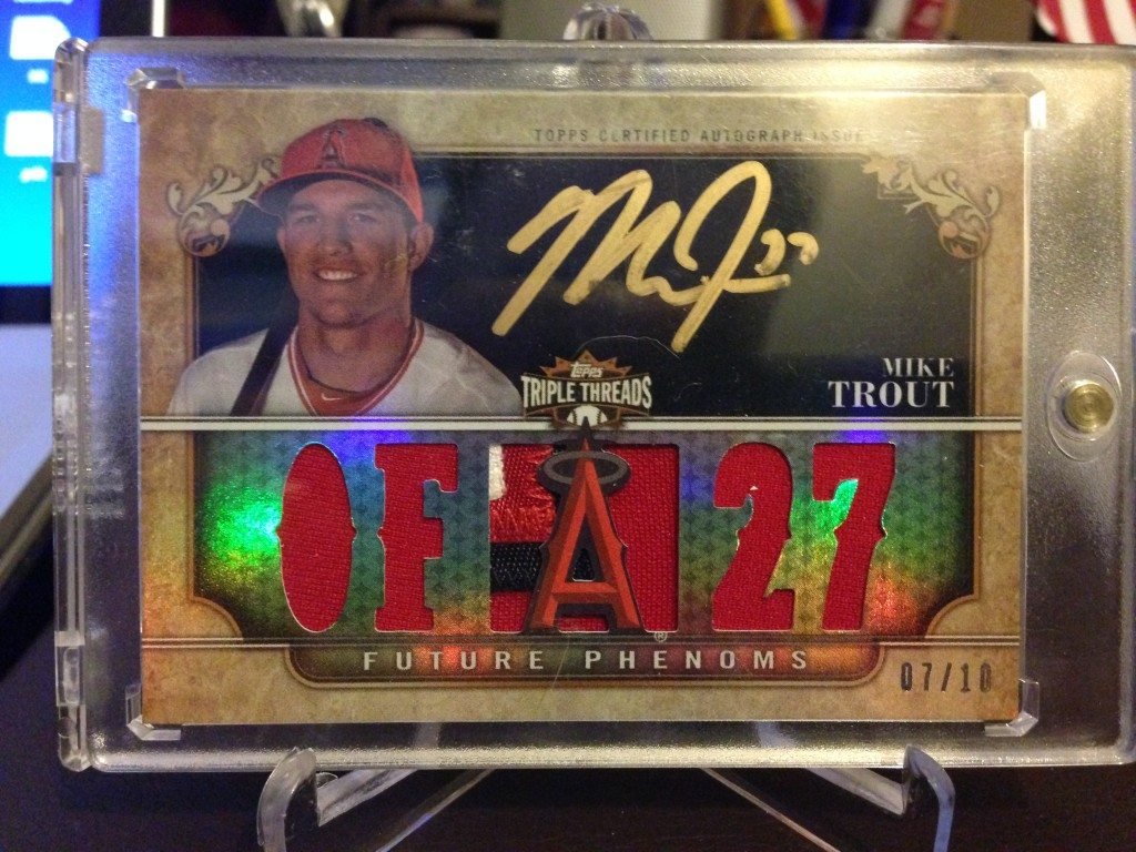 2013 Topps Triple Threads Mike Trout Gold Auto Triple Relic #07/10