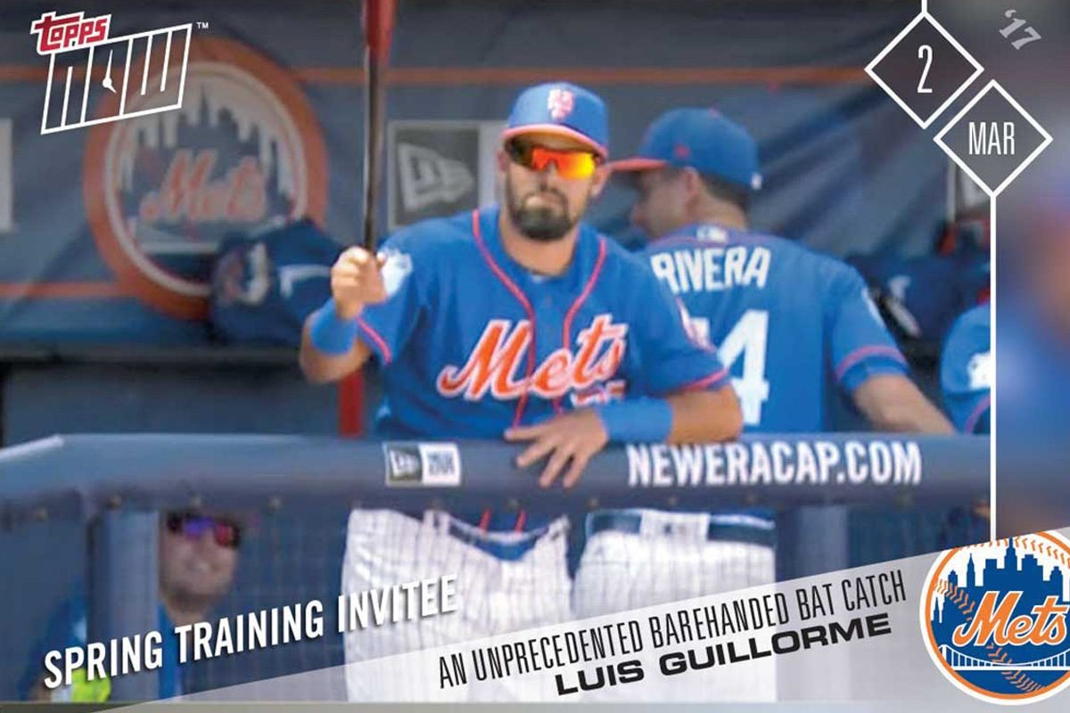 Prospect Guillorme's Bat Catch First Topps Now Card of 2017
